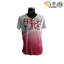 Men's Cotton Waterbase Print Dip Dye Short Sleeve V-neck T-shirt