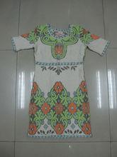 2014 Damas de algodón del diseño del modelo del bordado del vestido de ganchillo