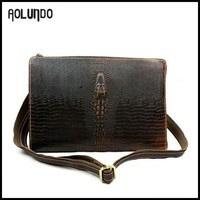 Genuine leather cheap shoulder strap phone bags for men