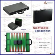 Black faux leather wood box backgammon set