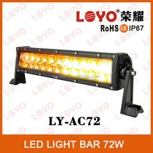 CE RoHS IP67 12v led light bar offroad white/amber led strobe lights 72w
