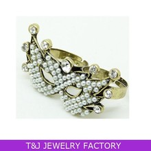 Fashion adjustable cute mask double finger Ring