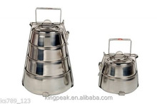 2015 Best Selling 3-Tier Pyramid Stainless Steel Tiffin Box Indian Lunch Box r/Stackable Camping food container Picnic Box