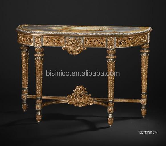 Vintage Drawing Furniture, Elegant Bronze Inlaid Baroque Round Side Table