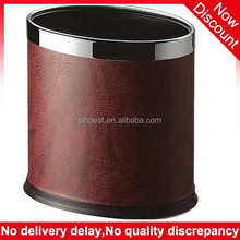 Hot sale! double layer steel ring oval red faux leather hotel waste basket, mini garbage bin
