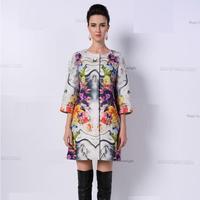 New Hot!Best Quality European Designer Coat Fashion 2015 Autumn Ladies Vintage National Bohemian Print Plus Big Size Coat Jacket