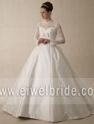 Simple Pure High Collar Long-Sleeve Ball Gown muslim hijab wedding dress