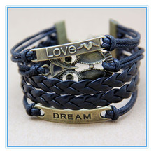 Hot selling fashion african popular wax leather wrap around bracelet with dream love owl charm for men