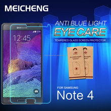 wholesale blue ray cut eye care tempered glass protector screen guard for samsung galaxy note 4