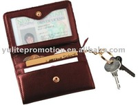Key ring leather with card holders