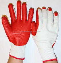 Cheap red latex rubber palm coated safety work gloves