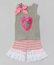 2015 new least sleeveless gray vest short pant boutique outfits for girls clothing clotghes kids outfits