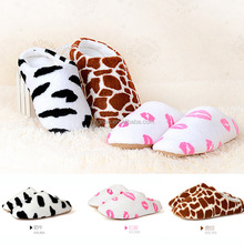 New Autumn Winter Milk Cow Red Lips Coral Fleece Lovers Slippers at Home Cotton-padded Indoor Slippers