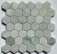 "Ming Green Marble 2"" Hexagon Polished Mosaic Tile"