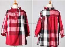 girl's 100% cotton yarn dyed plaid long sleeve shirts