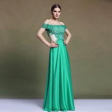 Dorisqueen Formal Evening Dress Column Off the shoulder Floor length Stretch Satin Sexy Emerald Green Evening Dress 2015