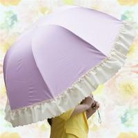 manual open laciness three folding umbrella