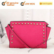 genuine leather rivet cross-body/branded famous top grade real cow-leather hand-bag - 563#-1