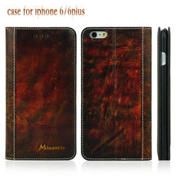 Superior quality flip leather phone cases with card slots for iphone 6 plus covers
