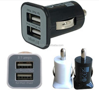 3.1A 3100mha USB Dual Car Charger 5V Dual USB car Chargers 2ports for iPad iPhone 4/4S 5/5S HTC Samsung