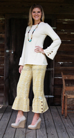 Guangzhou manufacturer ladies casual pant sets Fashional ladies ruffled capri pant sets