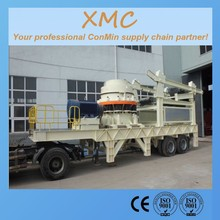 7 feet short head cone hydraulic or spring cone mobile crusher vibrating screening the construction waste material project