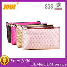 Fashion bowknot dot travel cosmetics bag case with mirror makeup bag case organizer toiletry bag