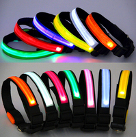 LED Nylon Pet Dog Cat Collar Night Safety LED Light-up Flashing Glow in the Dark Lighted Dog Collars