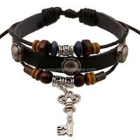 New Fashion Promotion! DIY Handmade Weave Fashion Dangle Retro Pierced key Charms For Women Leather Bracelets Bangles
