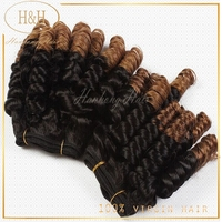 Fashionable factory price large stock tangle free spring curly ethiopian virgin human hair funmi hair