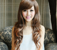 Top grade100% chinese hair long curly wigs,100% human hair wigs
