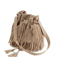 Hot Sale Free Shipping Women Tassel Fringed Handbag Best Selling Lady Faux Suede Leather Fringe Tassel Bucket Bag
