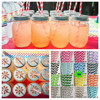 High quality mason jar with daisy cut Lids for color stripe straws 16oz