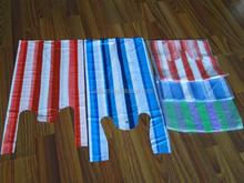 Eco-friendly good and cheap plastic stripe shopping bag