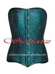Fullbust Brocade Green Corset with Steel Bones