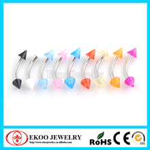 316L Surgical Steel Curved Eyebrow with UV Spikes Eyebrow Ring