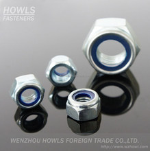 DIN982 / BSW / BSF / UNC / UNF carbon steel / stainless steel A2-70 class4 / class6 / class8 blue ring/ white ring hex nylon nut