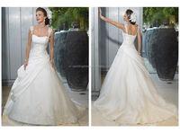 Elegant Fashion Appliqued straps 2015 new wholesale wedding dresses made in usa FXL-008