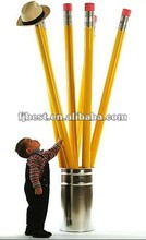 2015 High quality Metallic graphite lead wooden HB pencils with eraser toppers