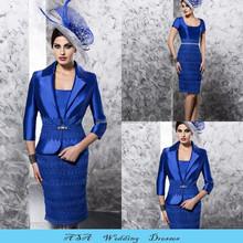 New Elegant Plus Size Knee Length Short Wedding Dress Royal Blue Lace Mother of the Groom Bride Dresses with Jacket 2015(MM06)