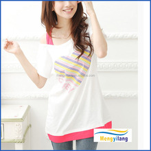 strapless one shoulder design teenagers t shirt for young ladies, t shirt wholesale china