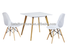 Plastic Seat with Soild Beech Wood Leg Dining Chairs