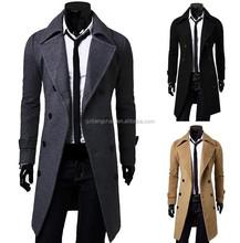 2015 newest design fashion long winter coat men trench coat