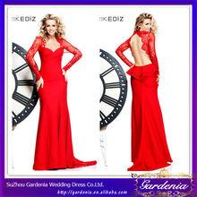 Alta calidad roja hermosa del amor sin respaldo de manga larga de encaje vestidos de noche vestido de noche de dos piezas 2014