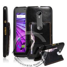 Manufacturer Wholesale premium leather case kickstand card pocket on back cover for Motorola Moto G3 leather case fast delivery