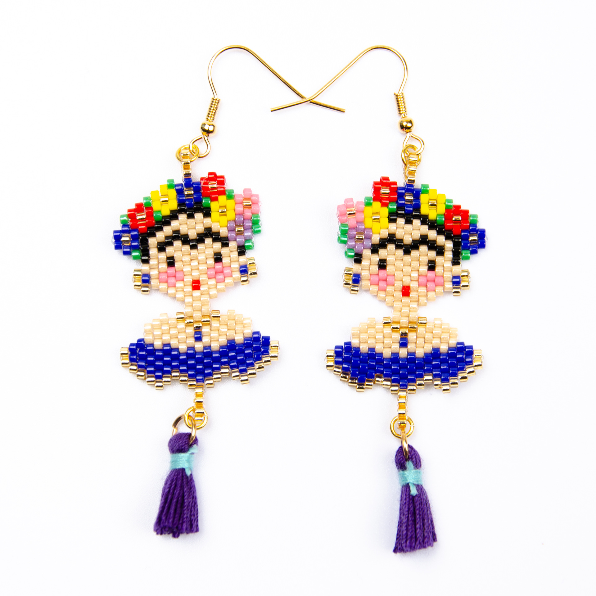 특별 디자인 Diy 작은 술 귀걸이 클래식 멕시코 프리다 Frida Miyuki 귀걸이