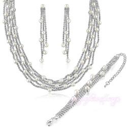 2015 new arrival dubai imitation pearl full set jewellery