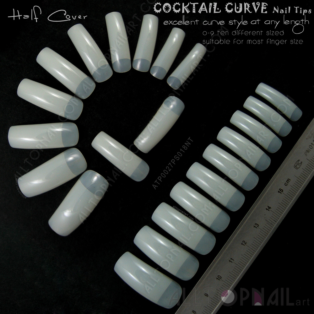 Wholesale French Tapered Deep C Curve Nail Tips 100x Natural Ivory ...