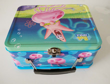 Rectangular Tin Box with Lock Catch and Plastic Handle for lunch box