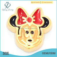 Hot selling mickey mouse locket floating charms,metal charms